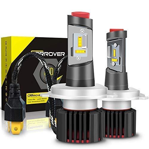 Lampadina H4 LED 9600LM, Kit Lampada Sostituzione per Alogena Lampade e Xenon Luci, Fari Auto Luce Abbaglianti e Anabbaglianti, Faro per 12V-24V, 6500K Bianco, 2 Lampadine