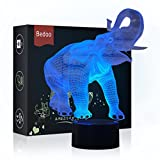 HeXie Pressie Birthday Gift Delightful Elephant Lamp Magic 3D Illusion 7 Colors Touch Switch USB Insert LED Light Christmas Present and Party Decoration