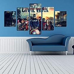 ZEMER Superhéroes CuadrosEn Lienzo Mural The Avengers Marvel Characters Fotos del Cartel 5 Piezas De Pintura Moderna para Decoración De Habitación Sin Marco
