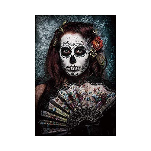 Liumiang Eco-Friendly Manual Custom Garden Flag Demonstration Flag Game Flag,Day of The Dead Decor,Make up Artist Girl with Dead Skull Scary Mask Roses Print,Cadet Blue Marooneco d¨¦COR -