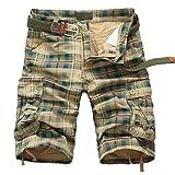Meerway Bermudas Pantalones Cortos de Cargo del Estilo Bolsillo múltiple Vintage Pantalones Cortos de Trabajo Verano sin Correa,Verde