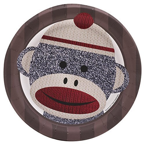Sock Monkey Red Dessert Plates (8) Party Supplies by Party Destination (Sock Monkey Party Supplies)