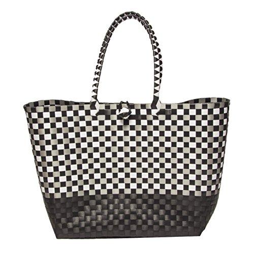 Jumbo Tasche Flechttasche Shoppper Strandtasche Umhängetasche Markttasche Einkaufstasche Beutel Schultertasche Big Bag Korbtasche Korb BLACK & WHITE -