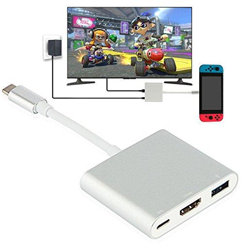 Nintendo Switch HDMI Typ C Hub Adapter, 1080p USB C Hub HDMI Konverter Kabel für Nintendo Switch, MacBook Pro 2017, Samsung Galaxy S8 Plus, Google Pixel (Samsung Hdmi-konverter)