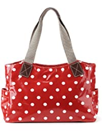 Grand Sac a Main Epaule en Toile Ciree a Pois Style Cabas Fourre-tout Sacoche Mode Hobo pr Femme Fille Rouge