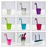esto24® Hängetopf 4er Set aus Zink Ø 13 cm, Blumentopf in 7 verschiedenen Farben erhältlich (Rot)
