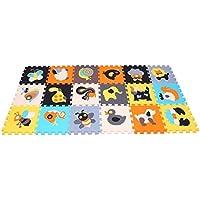 MQIAOHAM Puzzle Play Mat Interlocking Puzzle Pieces Promover Visual Sensory Development Soft Baby Floor Mat 18 fichas con imágenes animadas de animales para capturar la atención de los niños Foam EVA Mat 010011