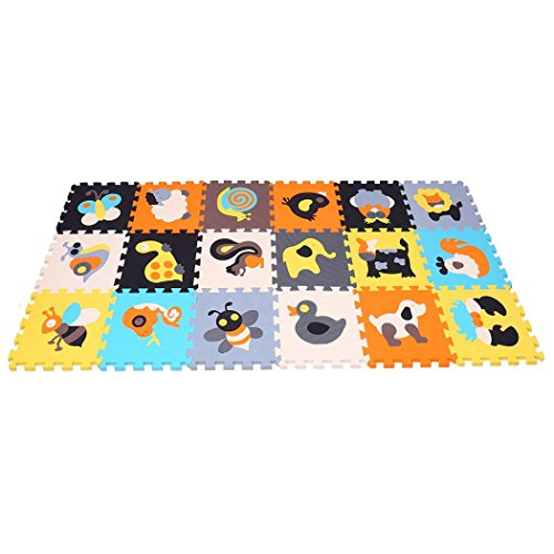 MQIAOHAM Puzzle Play Mat Interlocking Puzzle Pieces Promover Visual Sensory Development Soft...