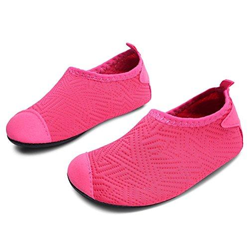 L-RUN Little Kids Wasserschuhe Barfuß Slip-on Aqua Socke Dot_Rose 7-7.5 = EU 24-25