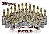 MutecPower 36x 24K vergoldet Bananenstecker für Lautsprecherkabel - Bananas für Lautsprecherkabel, Wandplatte, AV Receiver & mehr 36 Stuck (18 rot & 18 Schwartz)