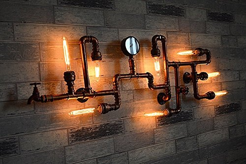 Miffen Weinlese-industrielle Schmiedeeisen-Metallwasser-Rohr-acht Kopf-Wand-Lampen-Wand-Leuchter-Befestigung Loft-Antiken-Wand-Lampe Edison E27 Druckanzeiger-Rohr-Wand-Scheunen-Garage-Landhaus-Befestigungen, die beleuchten (Wandleuchte Treibholz Kerze)