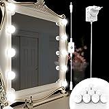 Samoleus Kit Luci da Specchio Trucco,Stile Hollywood Specchio Vanity Illuminato per Trucco Cosmetico, 10 LED Lampadine Dimmerabili con Dimmer Tattile, Ideale per Specchiera Tavolo, Bagno, Sala Trucco