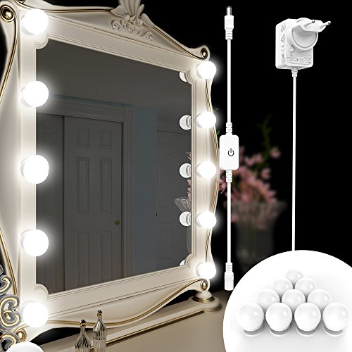 Kriogor Hollywood-Stil LED Spiegelleuchte mit Dimmbaren Glühlampen und Touch-Dimmer für Make-up-Vanity-Make-up-Tisch in der Kabine (Spiegeln nicht Enthalten) (Make-up-tisch-spiegel)