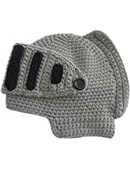 Casco de Gladiador de niño unisex romano caballero punto lana invierno cálido viento desmontable suave máscara Beanie sombrero tapa regalo Gris