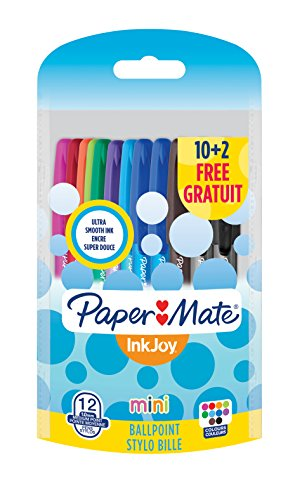 paper-mate-inkjoy-mini-100-cap-lot-de-12-stylos-bille-pointe-moyenne-couleurs-fun