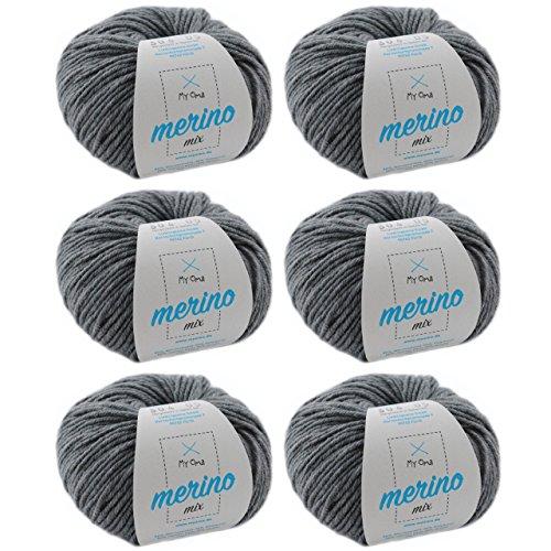 Wolle häkeln * Merinowolle steingrau (Fb 304) * 6 Knäuel graue Wolle häkeln - Merino Garn - 50g/120m + GRATIS MyOma Label - MyOma Wolle - weiche Wolle - Mischwolle stricken