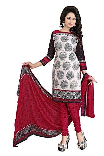 Queen of India Black Cotton Women's Unstitched Salwar Suit Set (QUEEN_5464_Free Size)