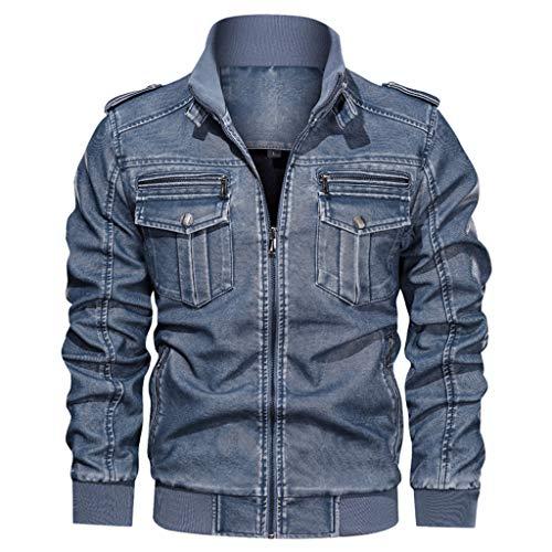 LIMITA Herren Jeansjacke Plus Size Solid Color Causal Washed Jacke Lederjacke Mit Stehkragen Bomberjacke Motorradjacke Baseball Jacke