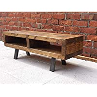 Contemporary rustic industrial tv stand or coffee table solid wood with steel legs