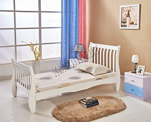 WestWood 3ft Single Size Wooden Bed Frame Solid Pine White Bedroom Furniture Home Guests Adult Kids Children Room Sleigh Design No Mattress WSB01