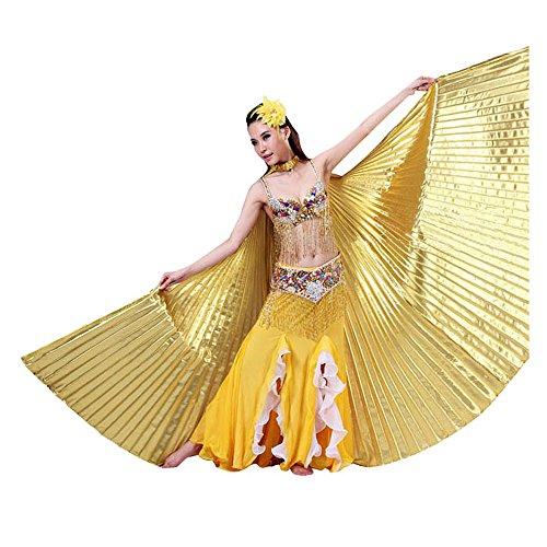 Ukamshop 1PC Ägypten Bauchtanz -Kostüm Flügel Bauchtanz Zubehör Maskenspiel Keine Sticks (Gold)