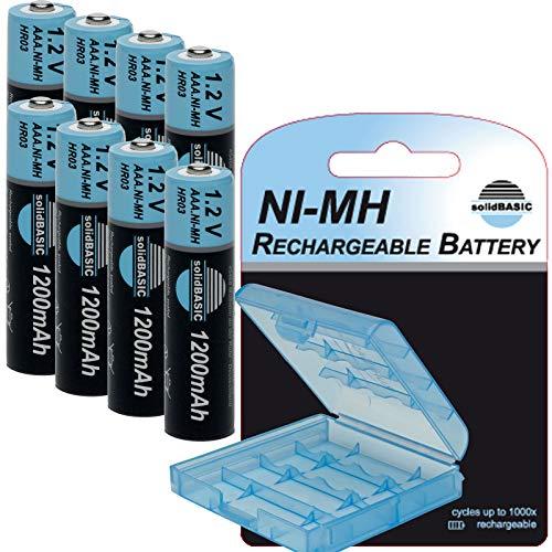 solidBASIC NI-MH Micro Akku AAA 1200mAh / 1.2V Rechargeable Wiederaufladbar + Aufbewahrungsbox/Batterie-Box - 8er