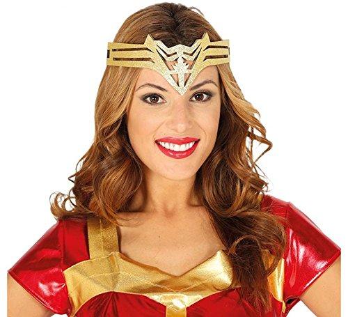 Guirca Diadema Supereroina, Goldfarben, Erwachsene, 13044 (Wonder Woman Kostüme Frauen)