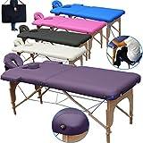 Beltom Table de Massage 2 Zones Portables Cosmetique lit esthetique Pliante Reiki + Sac - Violet