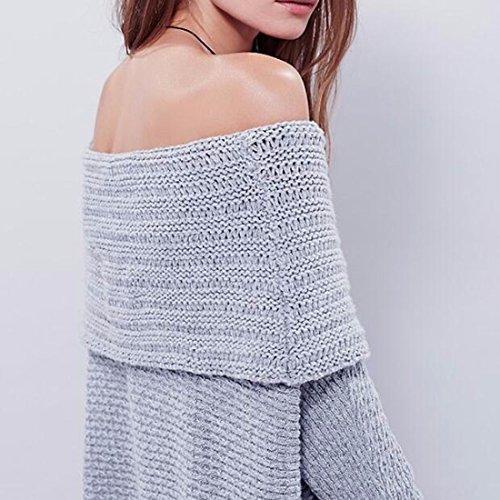 QIYUN.ZFilles Sexy Femmes Pullovers D'Épaule Long Dos Creux Pull En Tricot Gris