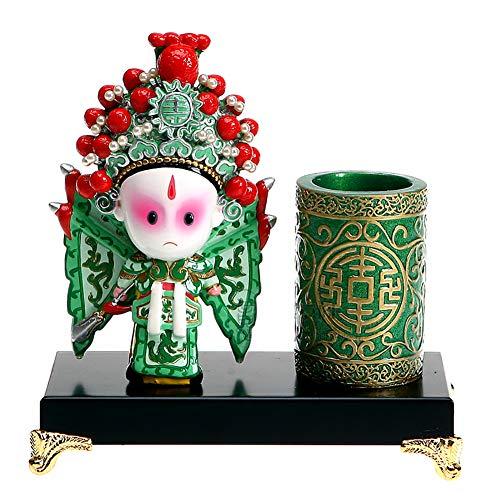 Peking-stift (AMYBDS China Peking Oper Figurine Stift Halter, Statue Dekor Souvenir Geschenk Und Kunst Ornament Weihnachten Geschenk,B)