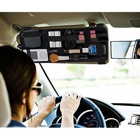 EarthSafe® Organizador del visera del coche Parasol CD Sunglass Holder táctico Clip bolsa Tarjeta de almacenamiento Bolsa de Cosméticos