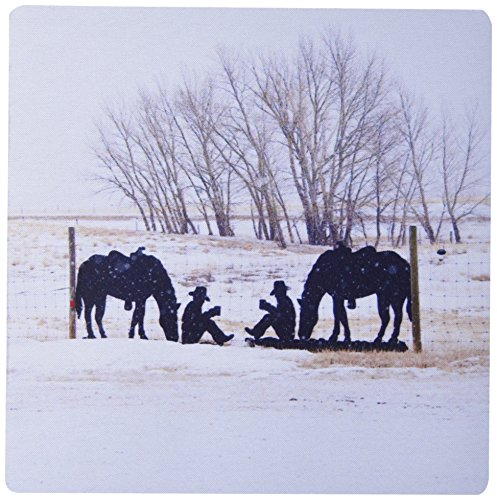3drose LLC 20,3x 20,3x 0,6cm Pferde und Cowboys Metall Schild Silhouette Mauspad (MP _ 11355_ 1)