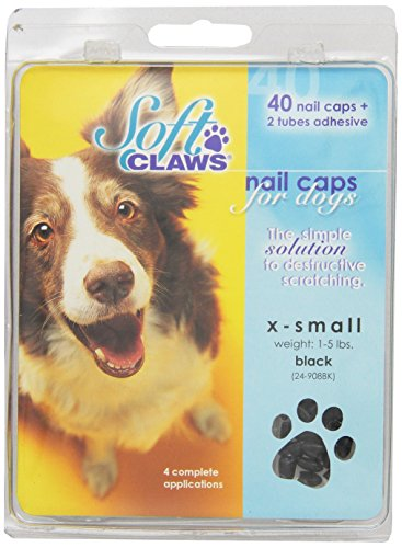 Hunde-Weiche Krallen Hunde und Katzen Nail Kappen Take Home Kit, Gr. XS, Schwarz