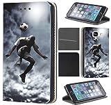 CoverFix Premium Flip Cover Hülle für Samsung Galaxy S7 G930F Schutzhülle Kunstleder Flip Case Motiv (1511 Fussball Fussballer Trick Fußball)