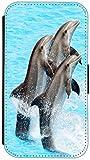 FioMi Flip Cover Hülle Samsung Galaxy S7 Edge SM-G935F Motiv 569 Delfin Delphine Blau Grau Handy Tasche Etui Schutzhülle Flipcover Case Wallet Bookflip Buchflip (569)