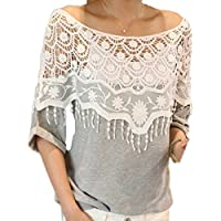 Fanessy Womens Ladies Stylish Sexy Hot Loose Batwing Dolman Lace Blouses Top T-shirt Fit UK Size 8-20, Batwing Style, Long Sleeves, Loose Style