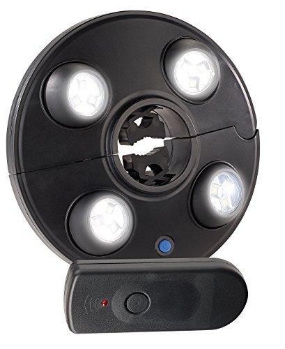 Luminea Sonnenschirmleuchte: LED-Schirmleuchte mit 4 dreh- & dimmbaren Spots, 200 lm, Fernbedienung (Sonnenschirm Licht)