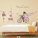 ALLDOLWEGE Stilvolle selbstklebender Wand Poster Hintergrundbild romantische Blume Mädchen Zimmer Dekor Aufkleber entfernt werden kann, der Radfahrer Blume Blüte Fee