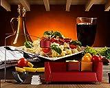 YUANLINGWEI Kreative Getränke Gemüse Pasta Essen Seidenwandbild Geeignet Für Restaurantküche