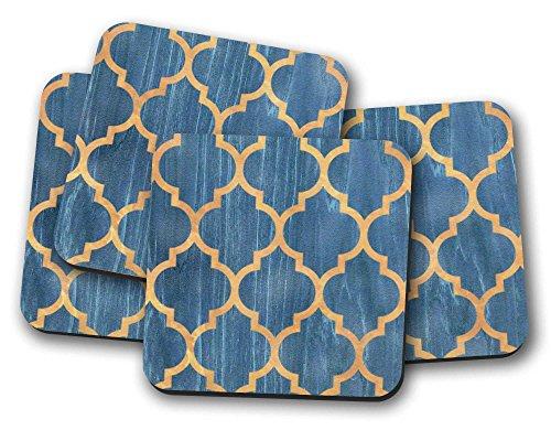 Gold Getränke Für Untersetzer (Blau und Gold Muster Untersetzer–Set von 4Getränke Matten ideal New Home Geschenk oder Einzugs Geschenk)