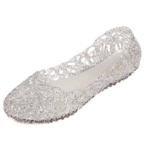 Minetom Damen Sandalen Bird-Nest Weich Plastik Jelly Schuhe Hohl Flach Gelee Ballett Shoes Sommer Mode Casual Süßer Silber EU 39 -