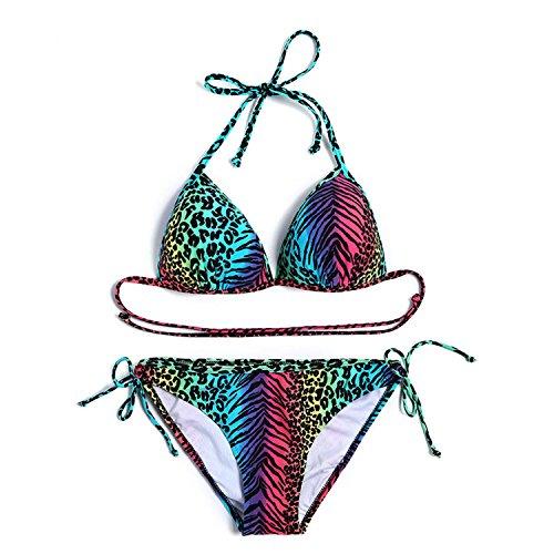 Damen Bademode Brasil Triangel Bikini Metall Leopard Bikini Set