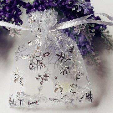 50 pièces sac de bonbons Cordon cadeau du faveur de la mariage sac d'organza de flocon de neige de Noël