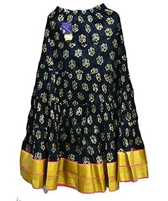 BAGUE Pure Cotton Fancy Designary Heavy Gear Gold Border Free Size Long Skirt for Women Girls