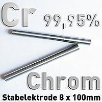 Cromo Cr 99,95 3N5 redondo Varilla ánodo 100 x ⌀ 8 mm galvanoplástica electrólisis Element 24 metal pura, CAS 7440-47-3