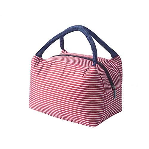 KonJin Isolierte Lunch Bag Cool Bag für Lunch Boxes Gestreiftes Wasserdichtes Gewebe Faltbare Picknick-Handtasche für Frauen, Erwachsene, Studenten und Kinder 26.5cm x 23cm x 15cm (Polizei-kleid Für Kid Online)