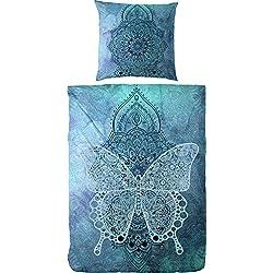 Primera - Juego de Cama (satén), Azul y Turquesa, 135 x 200 cm - 80 x 80 cm