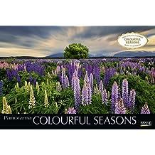 Colourful Seasons 2020: Großer Foto-Wandkalender mit Bildern von Jahreszeiten in der Natur. Edler schwarzer Hintergrund und Foliendeckblatt. PhotoArt Panorama Querformat: 58x39 cm.