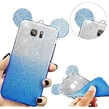 MOMDAD Carcasa Funda para Samsung Galaxy S6Edge Plus Soft Gel TPU Funda Silicona Carcasa protectora Ultra Delgado de Cubierta de la caja Funda protectora de Dibujos Animados Funda Carcasa Bumper Azul oreja case