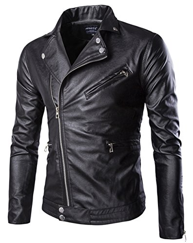 YYZYY Herren Vintage Revers Reißverschluss Faux Leder Moto Biker Jacken Mäntel (EU/DE Large, Black) (Leder-moto-biker-jacke)